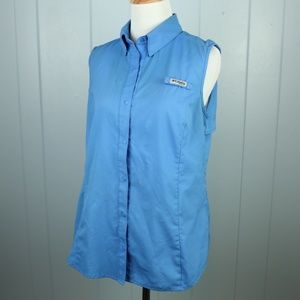 Columbia PFG Blue Tank Snap-Front